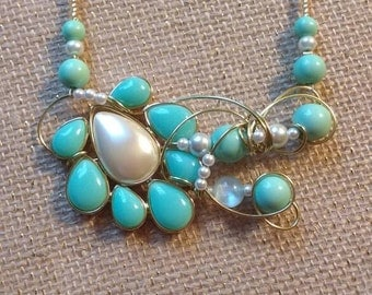 Mint green and pearl necklace
