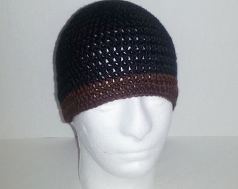 Mens Crochet Beanie, Men's Crochet Hat Two-Toned Black and Chocolate Brown, Crochet Beanie Black with Brown Border, Men's Winter Hat