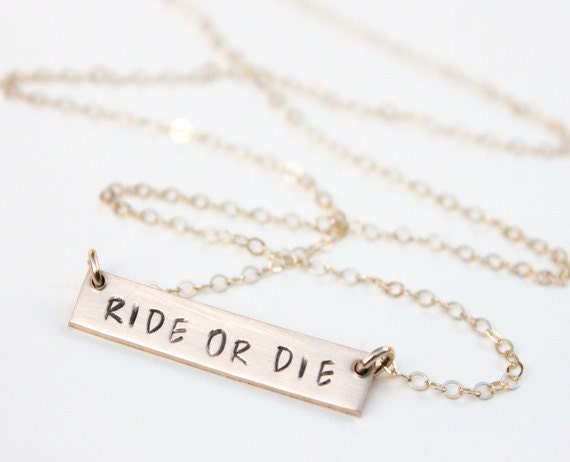 ride or die custom bar necklace best by
