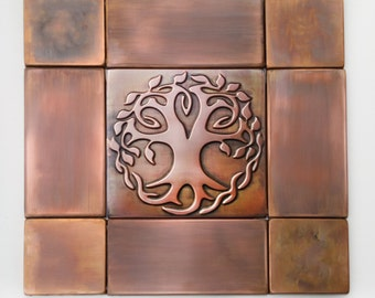 Copper Kitchen Backsplash Set Of 4 Tiles Rustic Modern