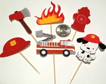 Firefighter / Firetruck Theme Party -  Cupcake Toppers / Raffle Tickets / Tent Cards / Dessert Sign