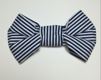 Dog Bow Tie - Navy Stripes - custom sized
