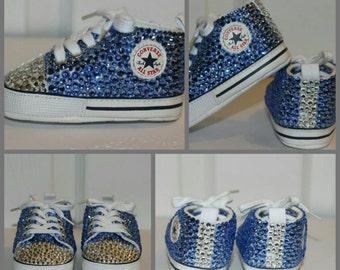 Infant Embellished Converse Crib Shoes (Blue)