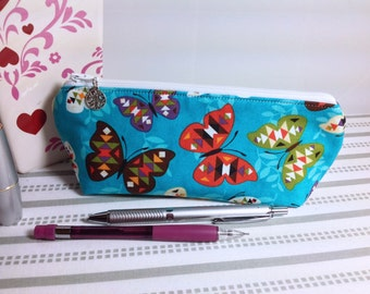 Teal Butterflies Pencil Pouch Cute Pencil Case Long Zipper Bag Makeup Case Cosmetic Bag Back to School
