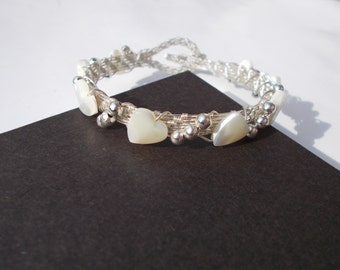 Adjustable wire wrapped bracelet , wire wrapped jewelry , shell jewelry , heart jewelry , silver bracelet , bridal jewelry , wire bracelet