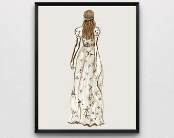 Fashion Illustration Art Print, Fashion Runway, Valentino Fashion Show