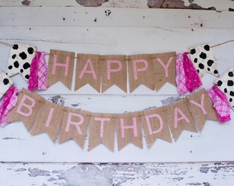 Pink Barn Theme Party Banner, Girl Farm Happy Birthday Banner, Cow Print Burlap Happy Birthday Banner, B317