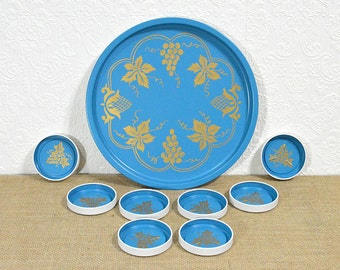 Serving Set- Blue and Gold Serving Tray with 8 Matching Coasters, Vintage Holiday Party Set