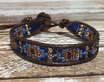 Blue Beaded Bracelet / Leather Wrap Bracelet / Bead Loom Bracelet / Chan Luu Style / Seed Bead Bracelet