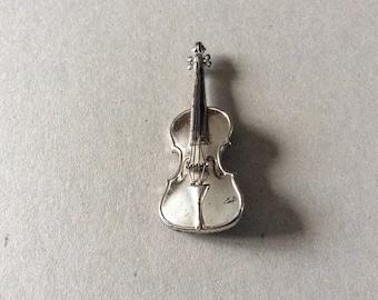 Sterling silver Violin brooch American 1940s