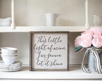 Little Light  // 13x13 Handmade Sign