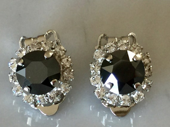 Jet Hematite & Clear Crystal Halo Clip On Earrings, Silver