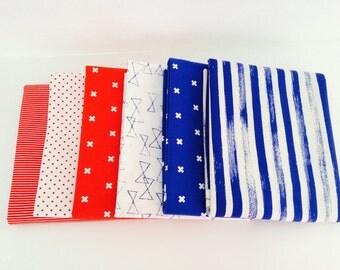 1/2 Yard Bundle Patriotic Bundle of mixed Fabrics (Cotton and Steel and Riley Blake Designs) -3 Yards Total