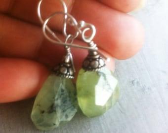 Prehnite Gemstones Earrings Green Prehnite and Bali Earrings 925 Sterling Silver Gemstones Earrings Green Artisan Dangles Statement Earrings