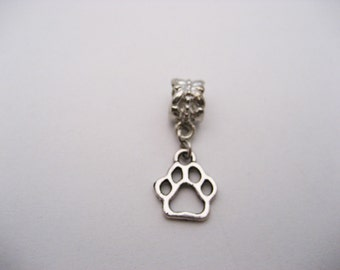 Paw Charm Silver Paw Print Charm European Charms Large Hole Big Hole Bead Jewelry Supplies European Bead Dog Paw Charm
