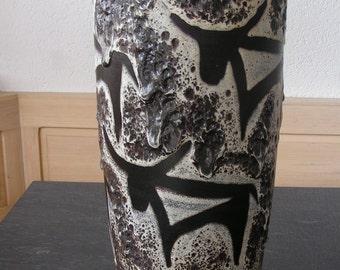 West German pottery floor vase with bulls, Scheurich 517-45