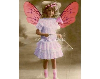 Victorian Child Fairy Digital Collage Ephemera Alter Art Instant Download Vintage Printable Girl Image Scrapbooking Cards Digital Photo