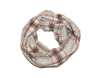 Brown orange taupe plaid infinity scarf