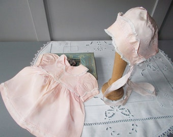 Antique Pink Silk Baby Girl Doll's Dress with Bonnet
