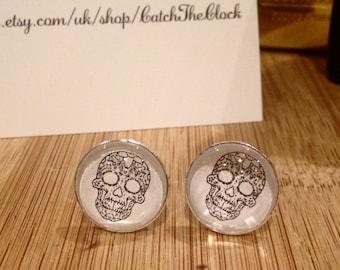 Silver-Plated Sugar Skull Cufflinks