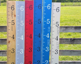 Personalized growth chart ruler hand painted giant kids wooden