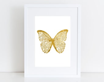 Butterfly pink,gold,black  -  Printable art , Instant download , nursery deco