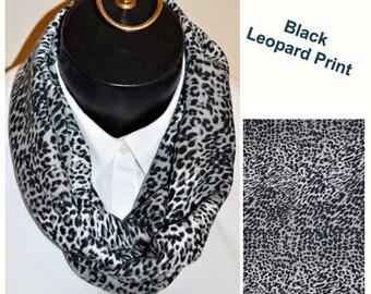 Black Leopard Print Infinity Scarf