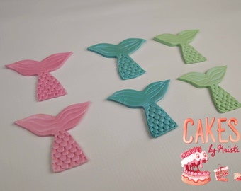 Fondant Mermaid Tail Cupcake Toppers- Set of 6 (MADE TO ORDER)