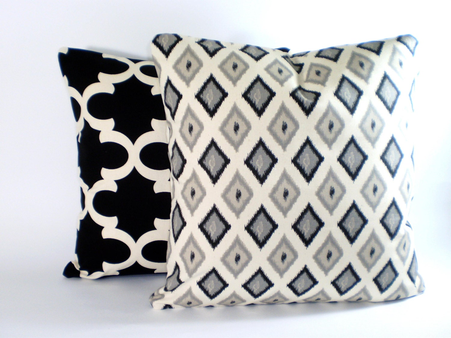 Black Cream Decorative Throw Pillow Covers by PillowCushionCovers
