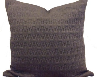 Charcoal grey textured quilted fabric cushion cover