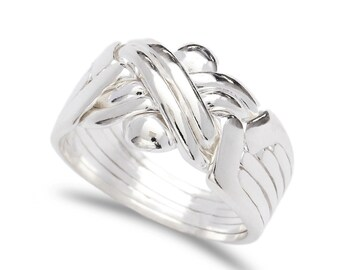 925k silver handmade 6 band  puzzle ring