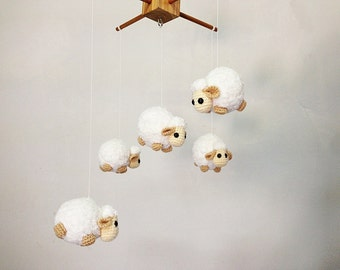 Baby mobile - Crochet Cute Counting Sheep, Sheep baby mobile,Crib mobile, nursery decor,Sheep crochet mobile, crochet baby mobile