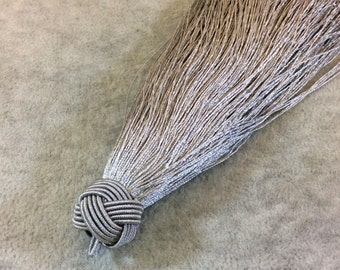 """6"""" Knot Capped Silver Gray Silk/Polyester Thread Tassel - Measuring 18mm x 150mm, Approx. - 30+ Colors Available, See Related Items!"""