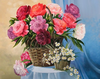 Original Oil Painting — Still life peonies, flower painting, fine art wall decor