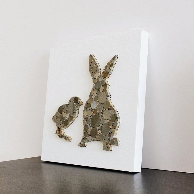 Modern Rustic Wall Decor : Modern rustic wall decor bunny and chick nursery