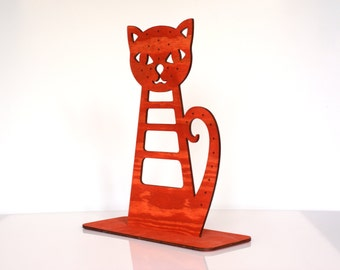 Red Cat Earring Holder, Earring Display, Earring Hanger, Earring Organizer, Earring Stand, Jewelry Display, Home Decoration, Jewelry Holder