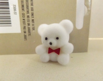 "Dollhouse Miniature Flocked 1"" White Bear With Red Bow"