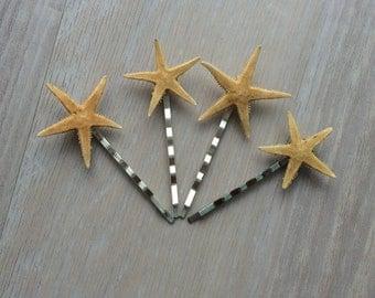 Starfish bobby pins, bridal hair accessory, beach wedding bobby pins, beach hair accessory, star fish hair pins, surfer girl hair