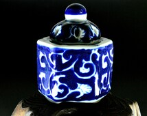 Antique Small Arita-ware Incense Burner with Sometsuke Design - For gift