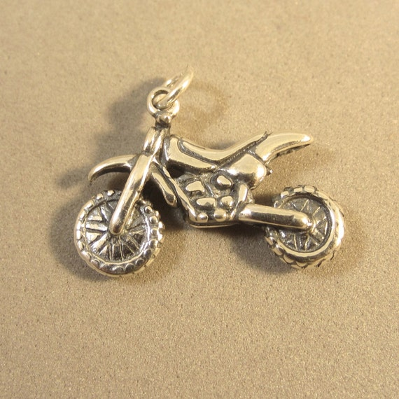 sterling silver 3 d dirt bike charm pendant motocross trail