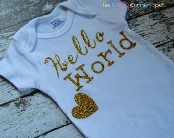 Hello World Onsie-Baby Girl Onsie-New baby-Glittered Onsie