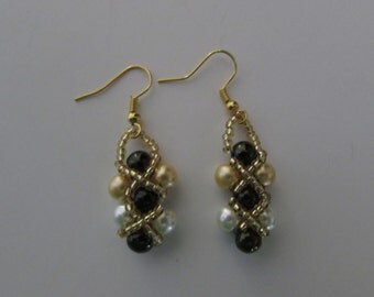 Emerald Green, Gold and White Glass Pearl Earrings