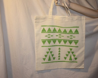 Pretty Lime Green Hand-Painted Triangles - Cotton Tote Bag