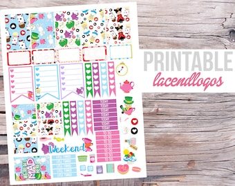 Printable Planner Stickers Alice In Wonderland  Happy Planner Glam Planning Me and My Big Ideas 365 Looking Glass Storybook Weekly KitMAMBI
