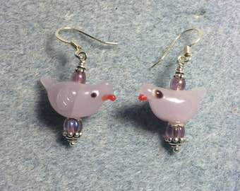 Violet lampwork songbird bead dangle earrings adorned with violet Czech glass beads