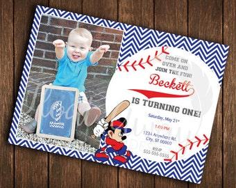 Mickey Mouse Baseball Birthday Invitation