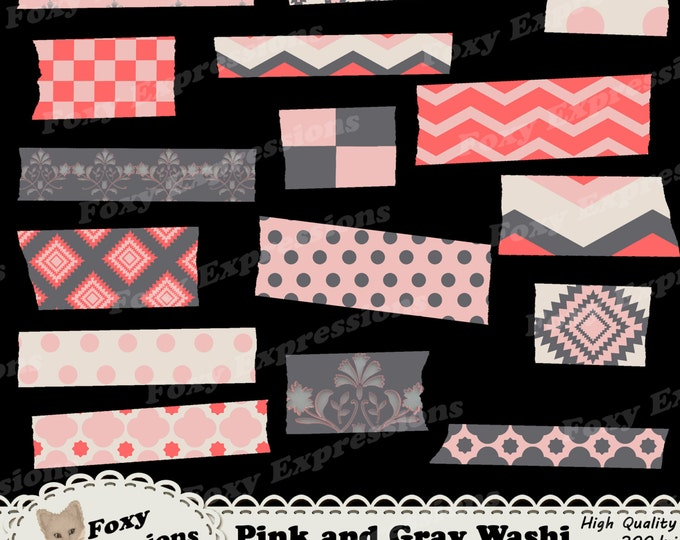 Pink and Gray Digital Washi pack comes in chevron, checkers, damask, polka dots, and diamonds patterns. In shades of pink, gray and cream.