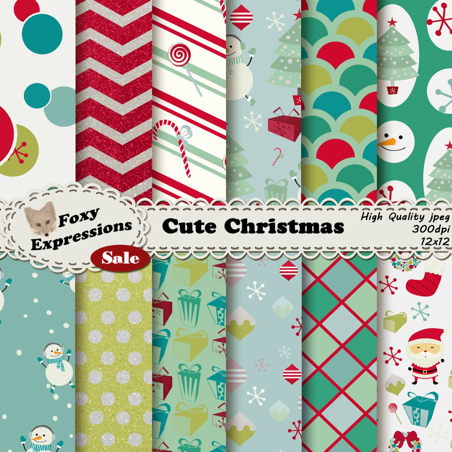 Cute christmas digital paper pack comes in festive designs for Cute designs for paper