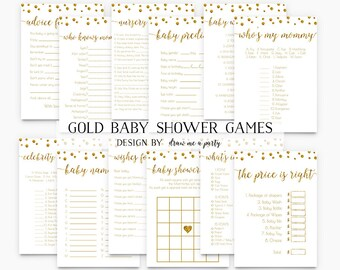 GOLD BABY SHOWER Games Package , Gold and White Baby Shower , Polka Dots Baby Shower Games Pack , Printable , Instant Download