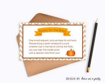 Little Pumpkin Baby Shower Book Request , Bring a Book Instead Of a Card , Autumn Baby Shower Inserts Book for Baby Printable DIY